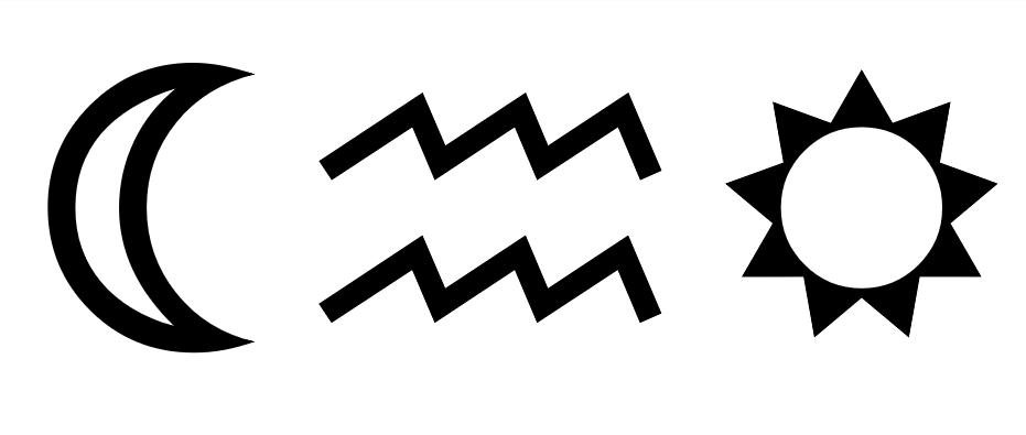 Moon, Waves. and Star Symbols